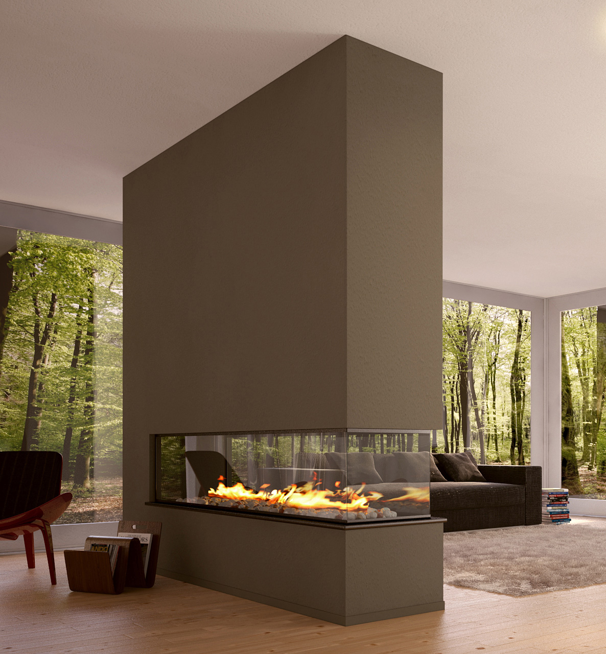 Contemporary Style Gas Fireplace