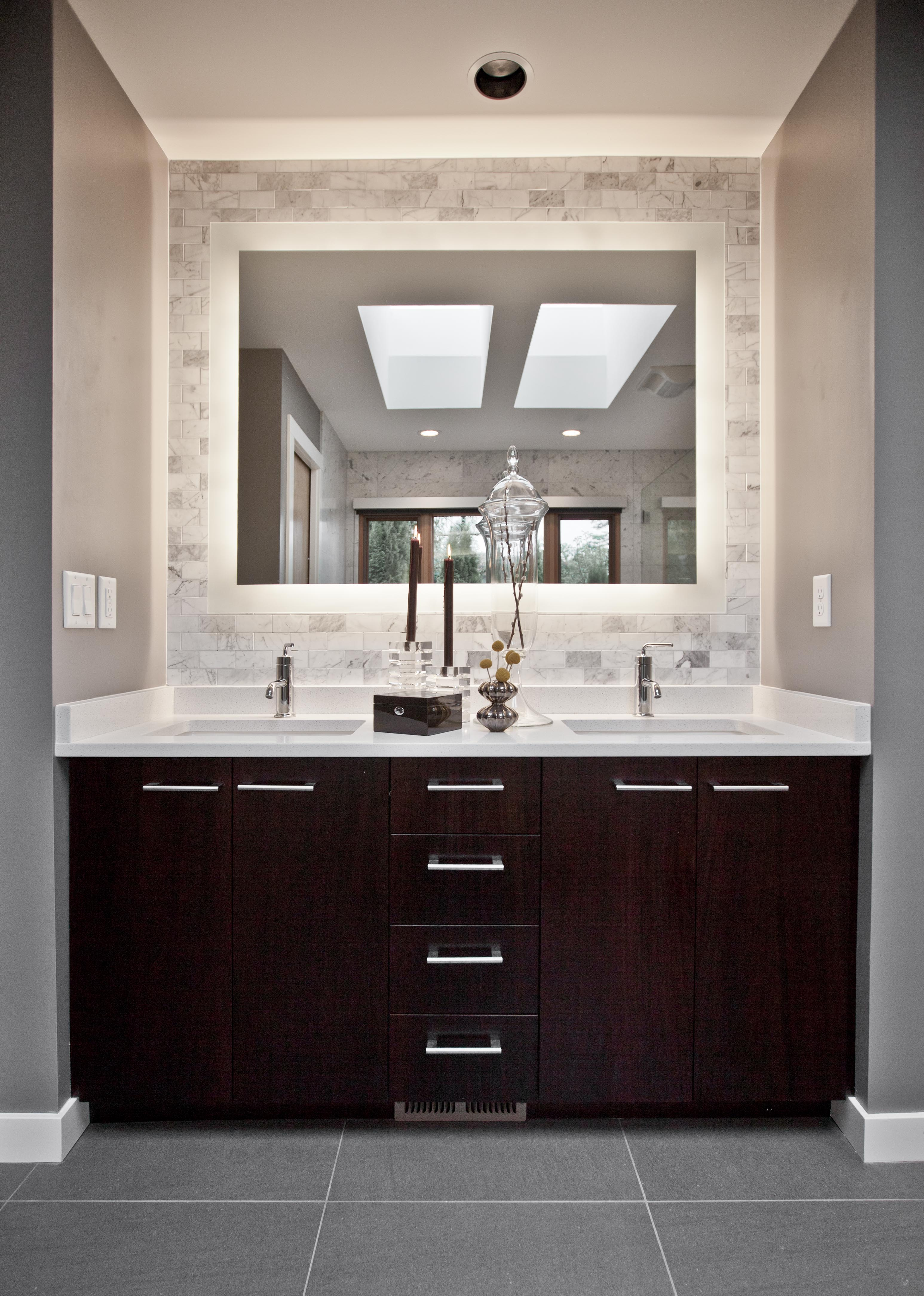 Custom bathroom vanity cabinets with white counter top