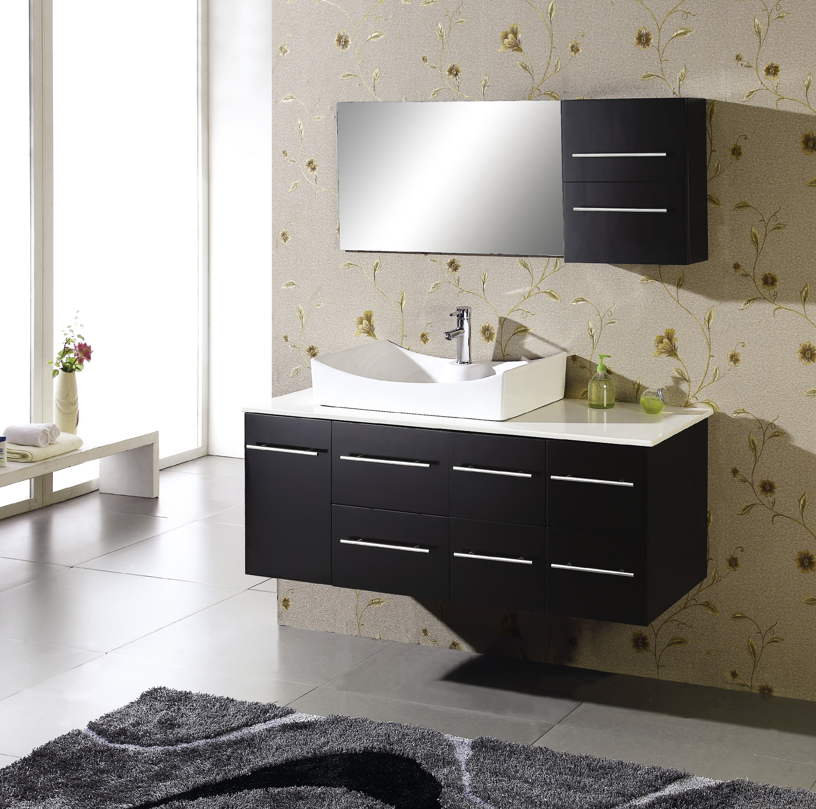 Modern bathroom vanity unit with white contemporary vanity sink and faucet