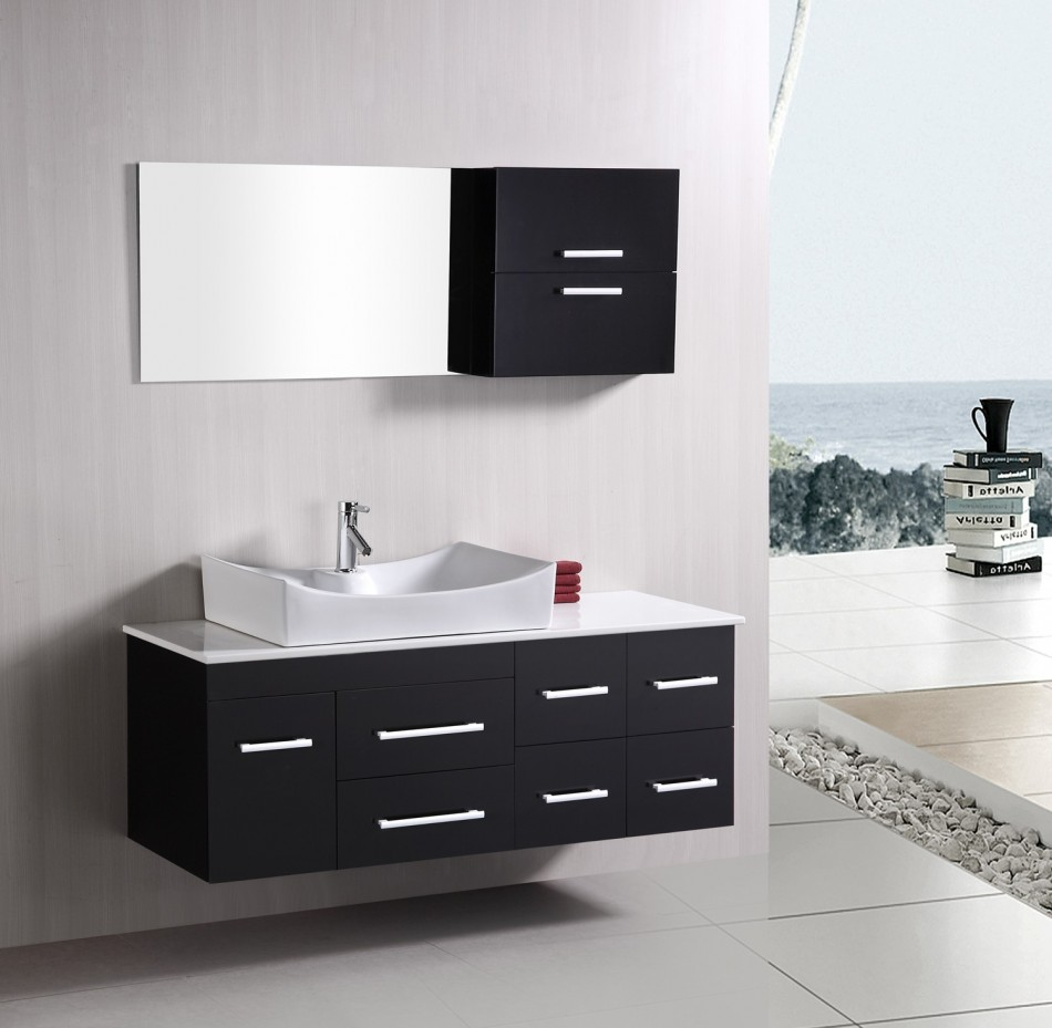 Modern contemporary bathroom vanity cabinets with single sink