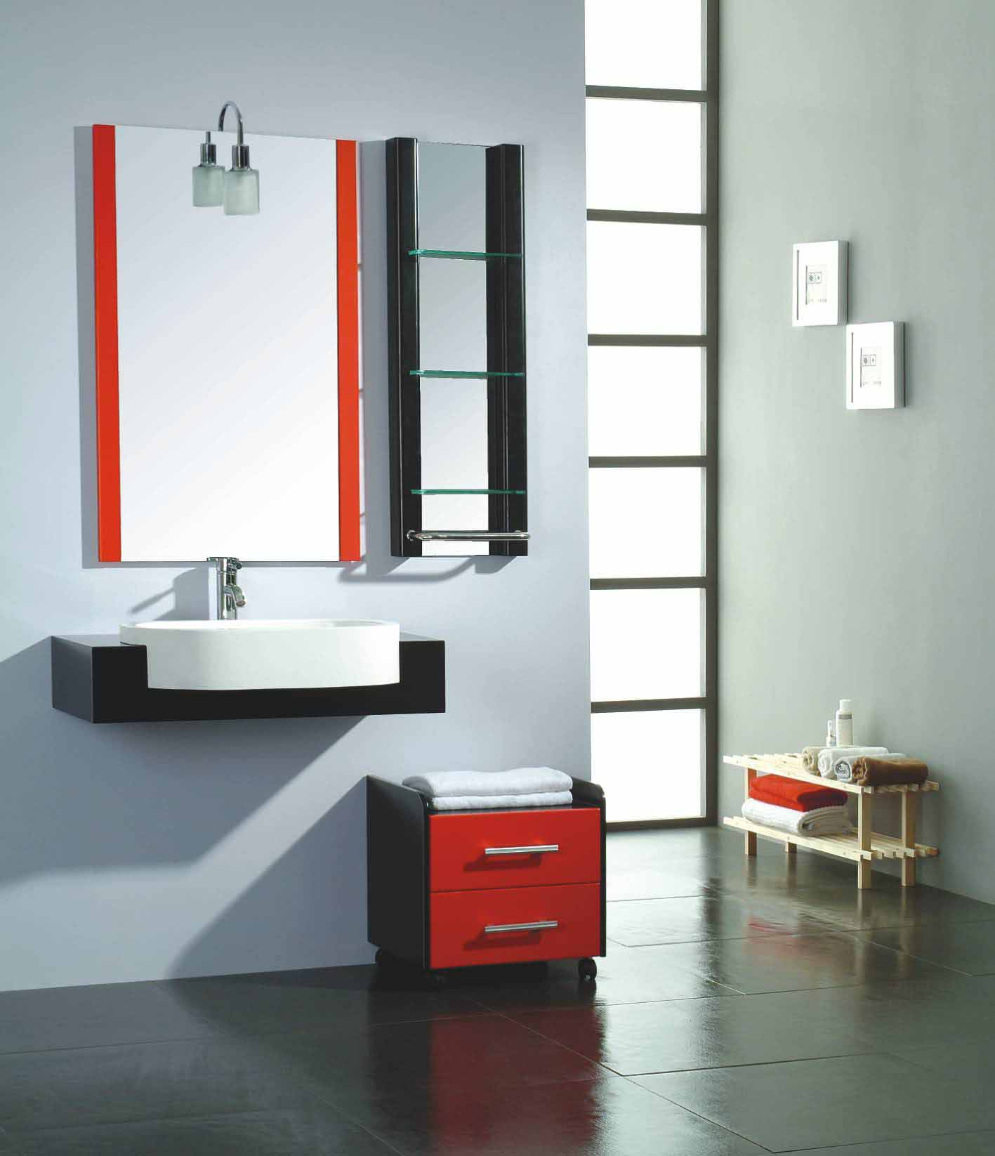 Modern vanity light ideas for wall mounted sink design on a cool little movable bathroom cabinet idea