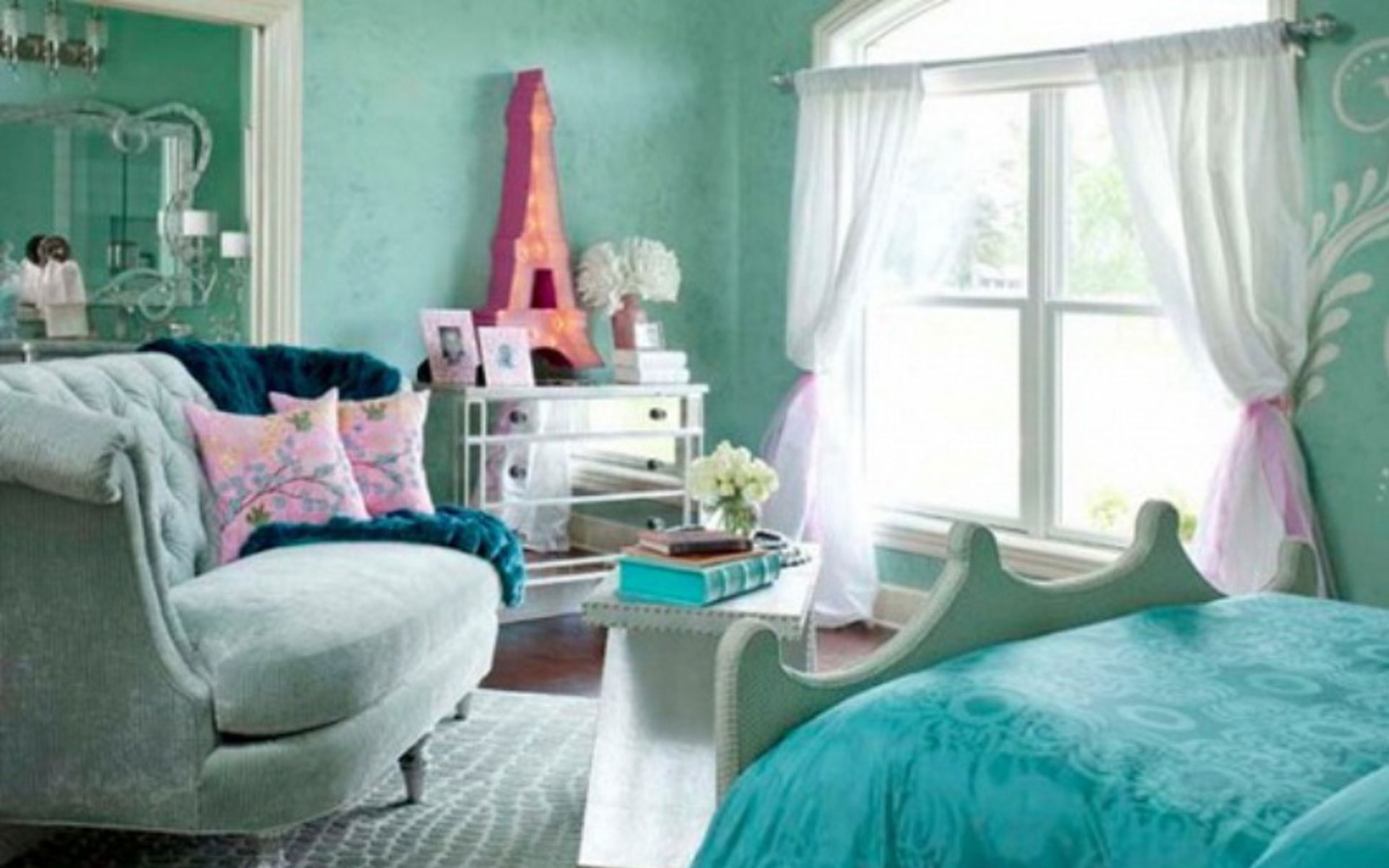 blue wall girls bedroom design for teenagers