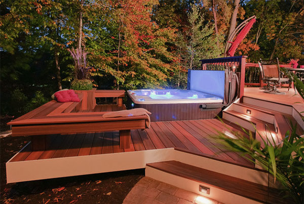 Fancy Wooden Deck Design with Cool Square Hot Tub and Lights in It Ideas