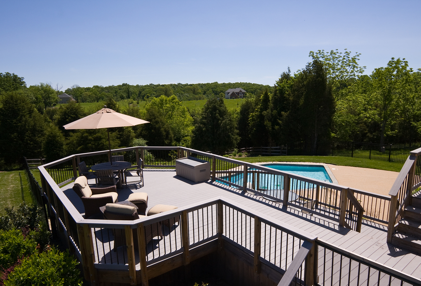 Modern deck and swimming pool