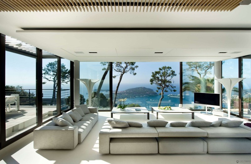 Modern Living Space Soft Grey Living Room Large Glass Wall