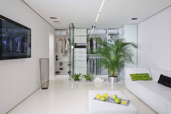 Modern Minimalist Apartment Design with Bold Colors White