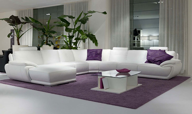 White Leather sofa with purple