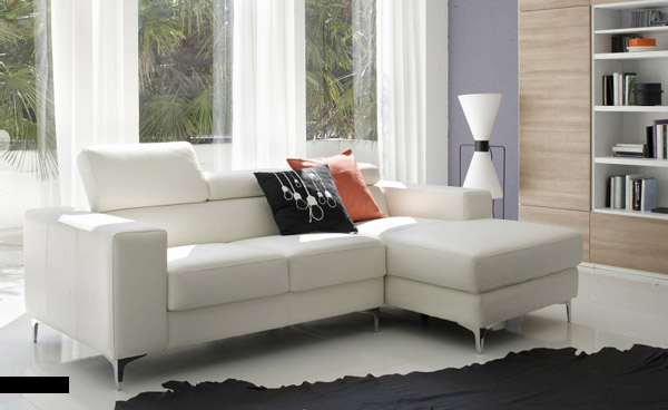 White Sofa and Natural Lit Living Room with Black