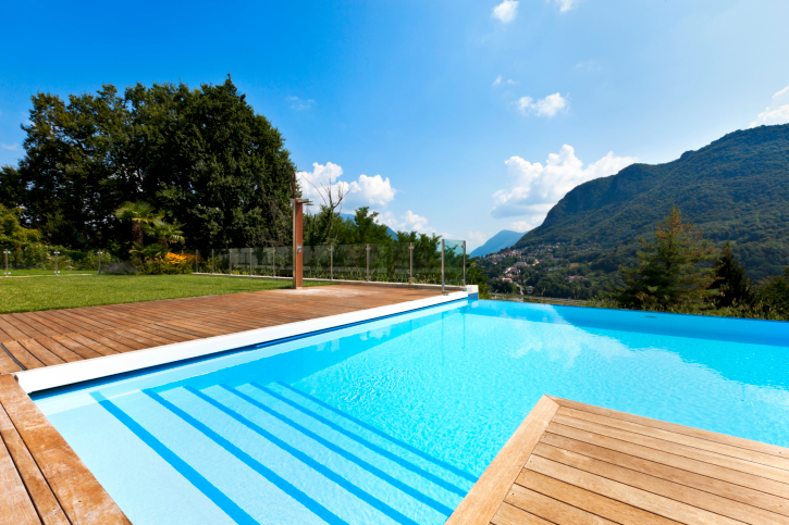 simple wooden deck design ideas with swimming pool