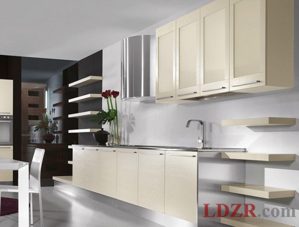 white contemporary kitchen cabinets with black color combination
