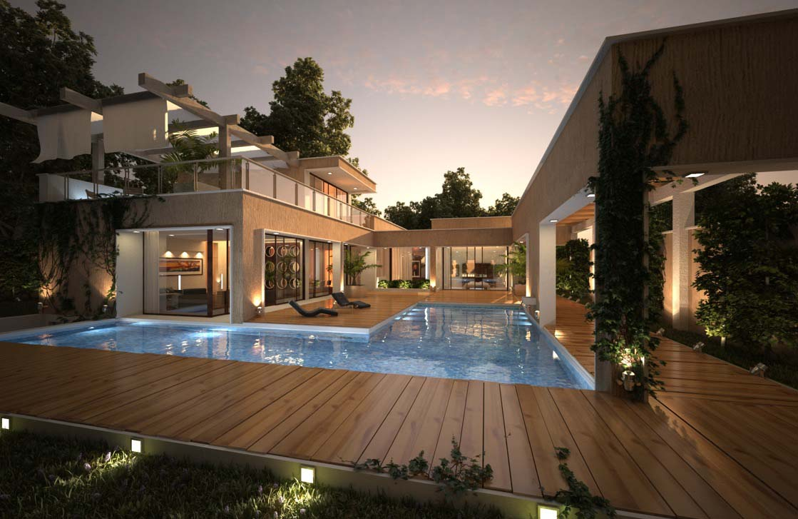 wooden deck design ideas with pool in center