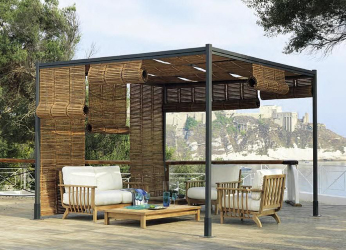 Free Standing Metal Pergola With Retractable Shade