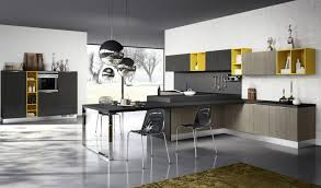 Modern Kitchen Flooring Trends Grey Granite Laminate Flooring with Black Kitchen Island And Dining Room Table