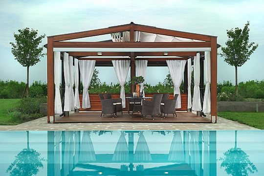 Modern Pergola Design From Artistic Touch With Clear Water Obove Ground Swimming Pools Design