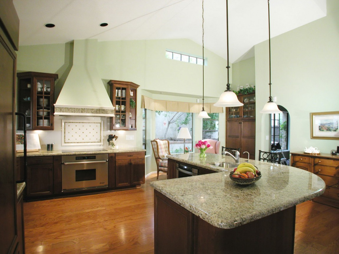 Wooden Kitchen Flooring Options with Laminating Floor and Pendant Lighting Design for Kitchen Island