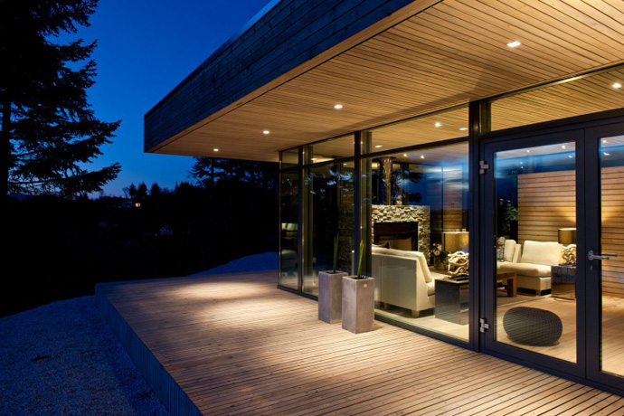 General viewing from glass wall living room