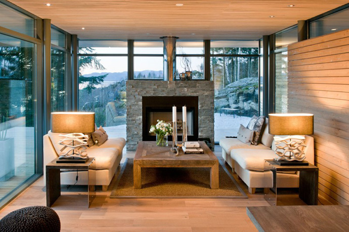 Modern Cabin House Design With Wooden Flooring and Fireplace