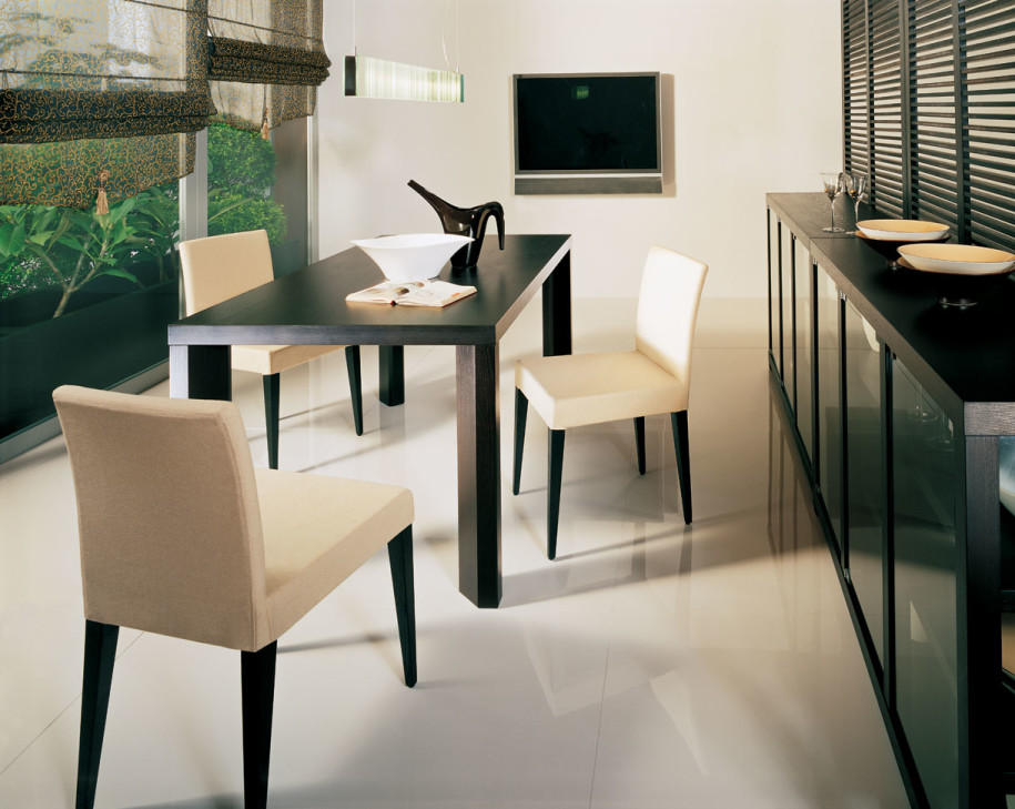 Black Wood Dining Room Tables With White Creamy Cushions Chairs