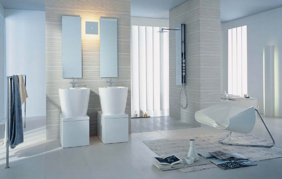 Elegant White Bathroom Design Ideas With Cool White Double Vanity WashBasins With Double Wall Attached Mirror
