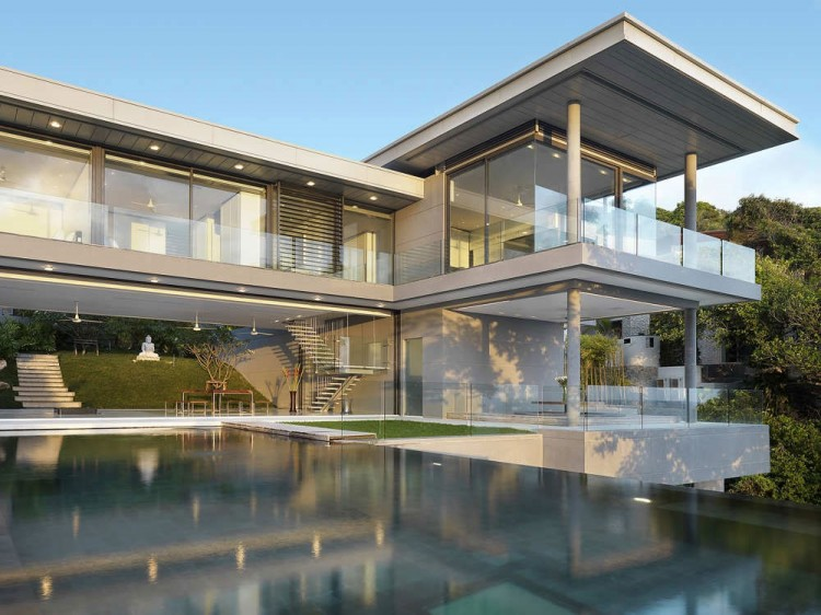 Front View of Modern Minimalist House With Glass Wall Ideas Facade Design