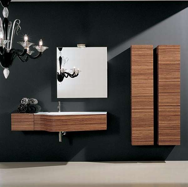 Modern Wall Mounted Bathroom Vanity Sinks with Cabinets and Mirror