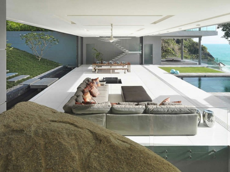 White Flooring Open Style Living Room Design With Modern Contemporary Sectional Sofa