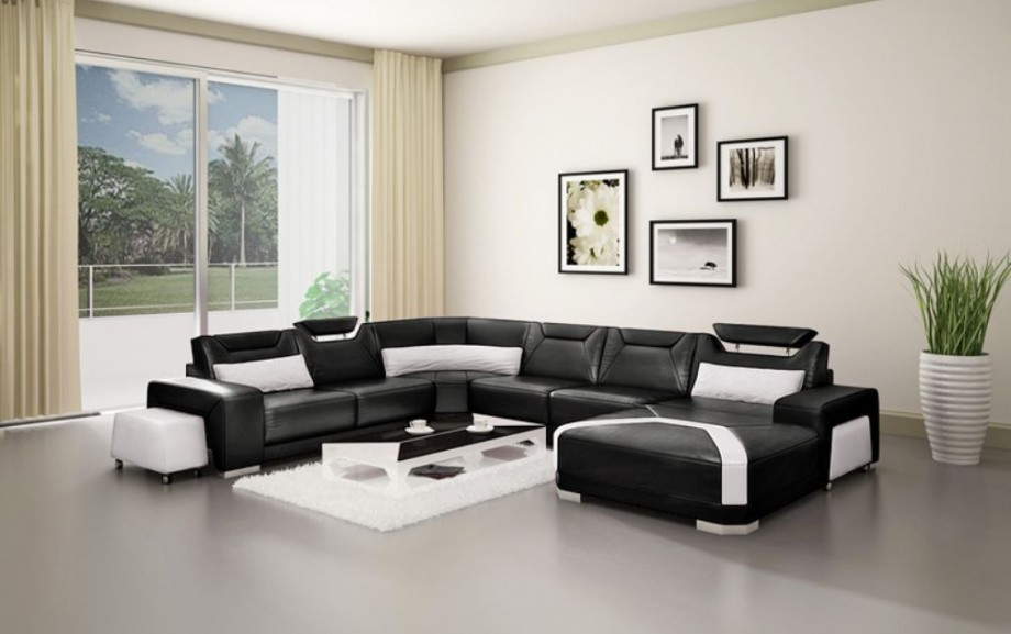 Black and White Leather Sofa Sectional In White Creamy Living Room Color Theme
