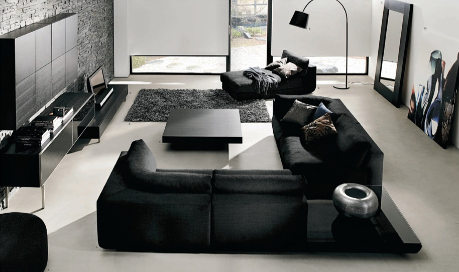 Contemporary Black Leather Sofa For Modern Living Room