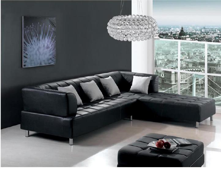 Cozy Black Leather Sofa and Loveseat Design In Small Apartment Living Room With Black Wall Paint