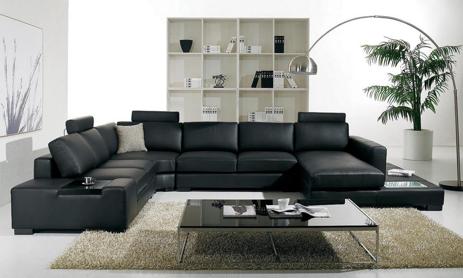 Luxury Black Leather Sectional Sofa For Living Room Interior Decoration With Cool Glass Top Coffee Table