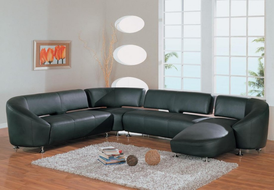 Modern Black Leather Sectional Sofa With Contemporary Look Match Hardwood Flooring Living Room