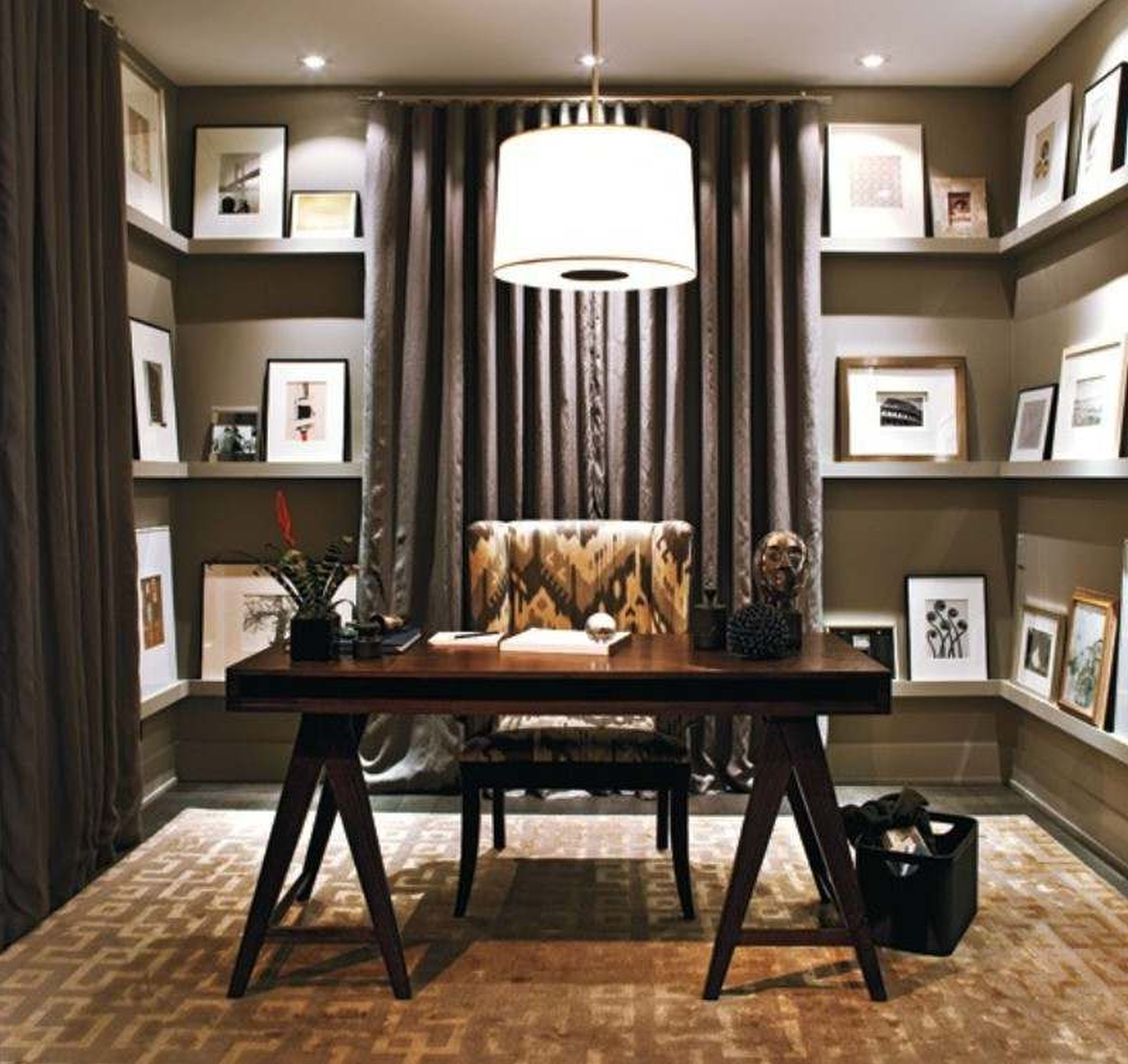 Awesome small home office design with cool chandeliers lighting