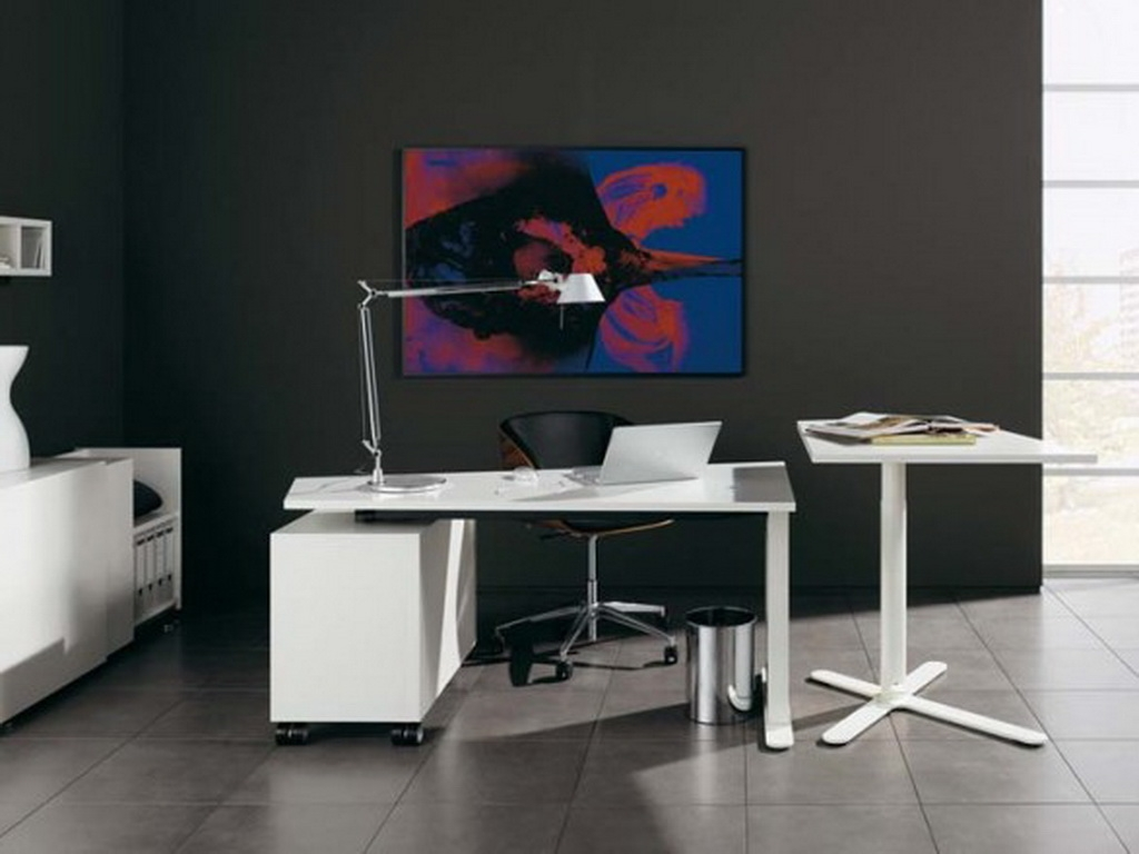Contemporary white small home office desk with storage in black theme room