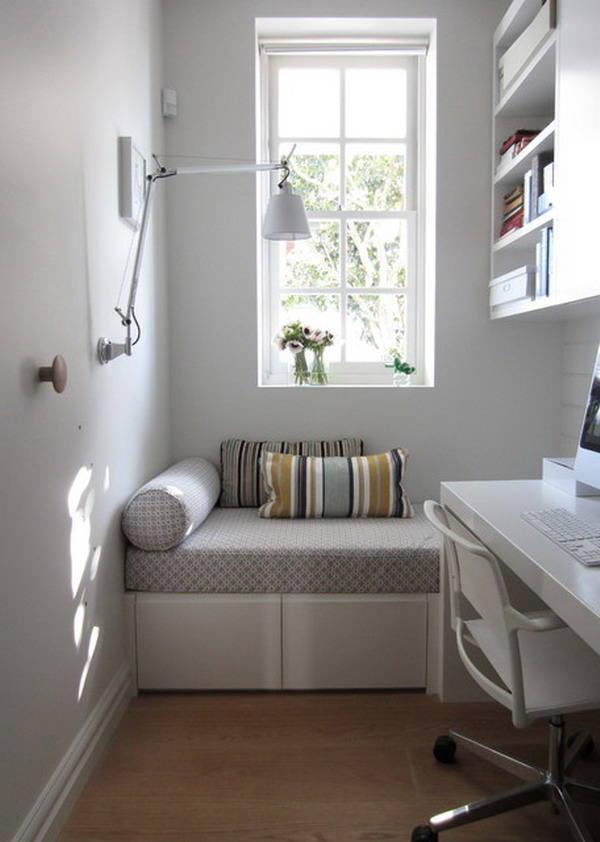 Home office decoration ideas in a white small bedroom