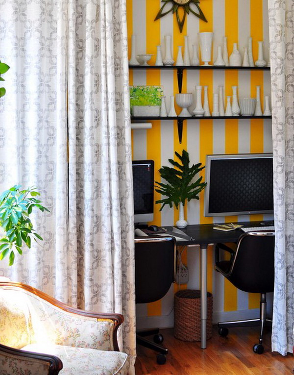 Perfect home office setup with white yellow wall decoration