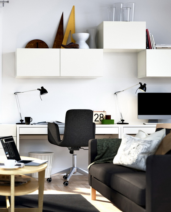 Small Home Office Design Ideas Decor With Black Chair and White Desk