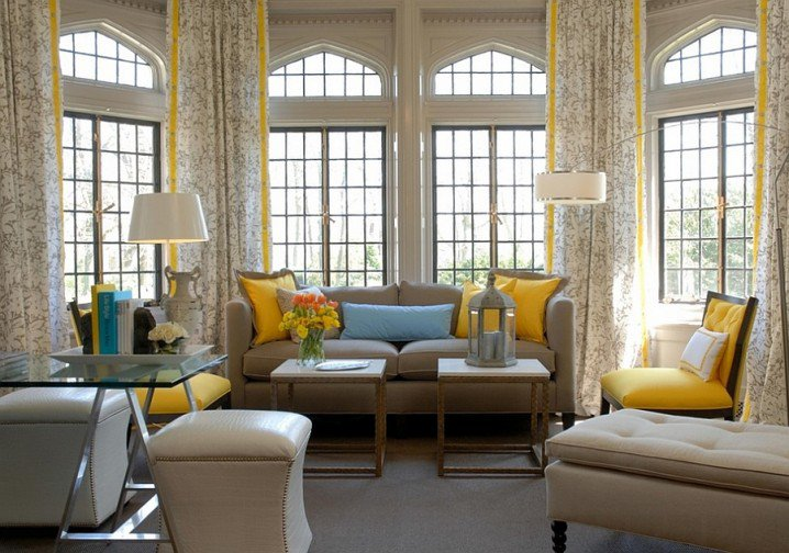 contemporary grey and yellow living room decoration with white creamy sofa sets