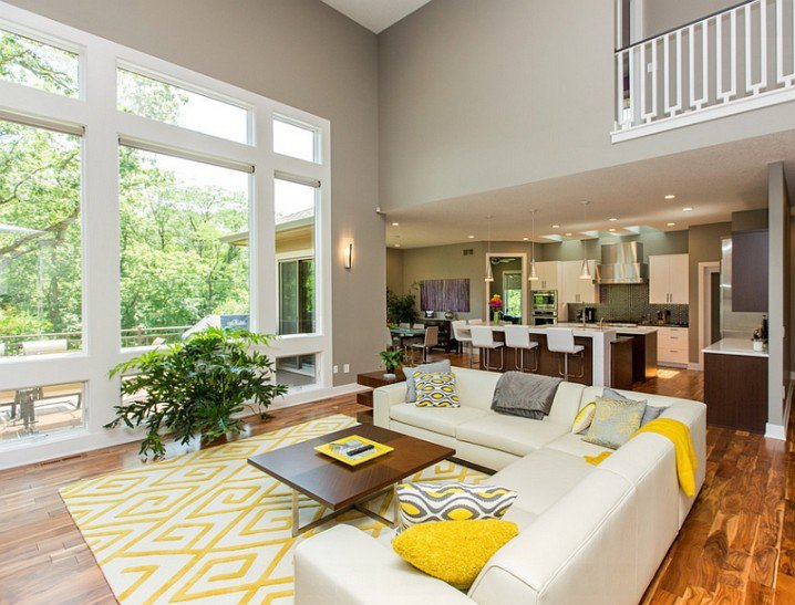 grey and yellow living room theme with white sectional sofa sets