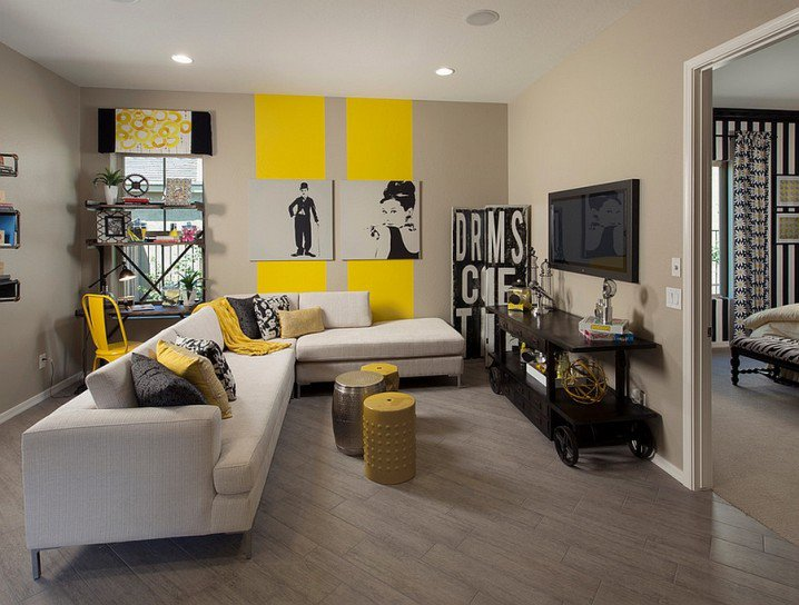 modern grey and yellow living room design ideas with creative wall art