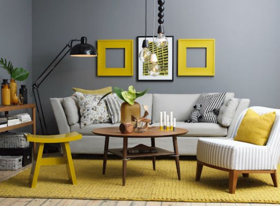 simple grey and yellow living room