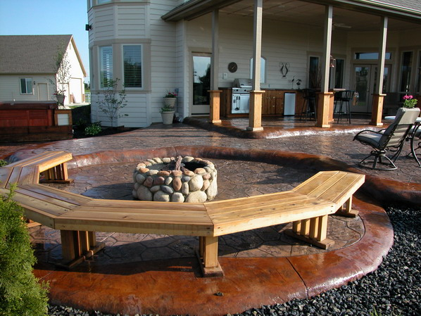 cool stamped concrete patio that looks like wood with great design stamped concrete patio with fire pit