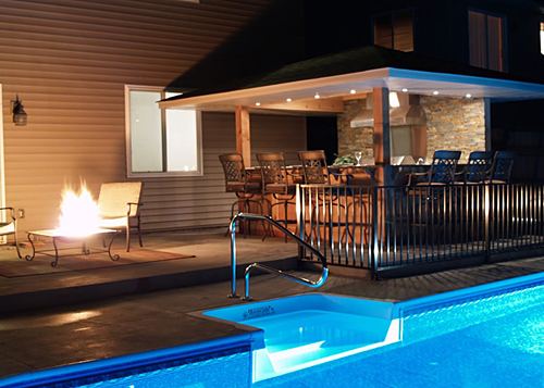pool decks with awesome patio stamped concrete around pool with wrought iron patio furniture sets and fire pit