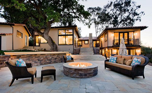 Stamped concrete patio with fire pit design ideas stamped