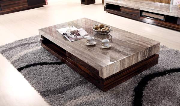 contemporary solid wood coffee table design with marble top ideas
