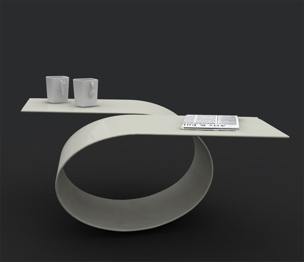 creative and unique high gloss white coffee table
