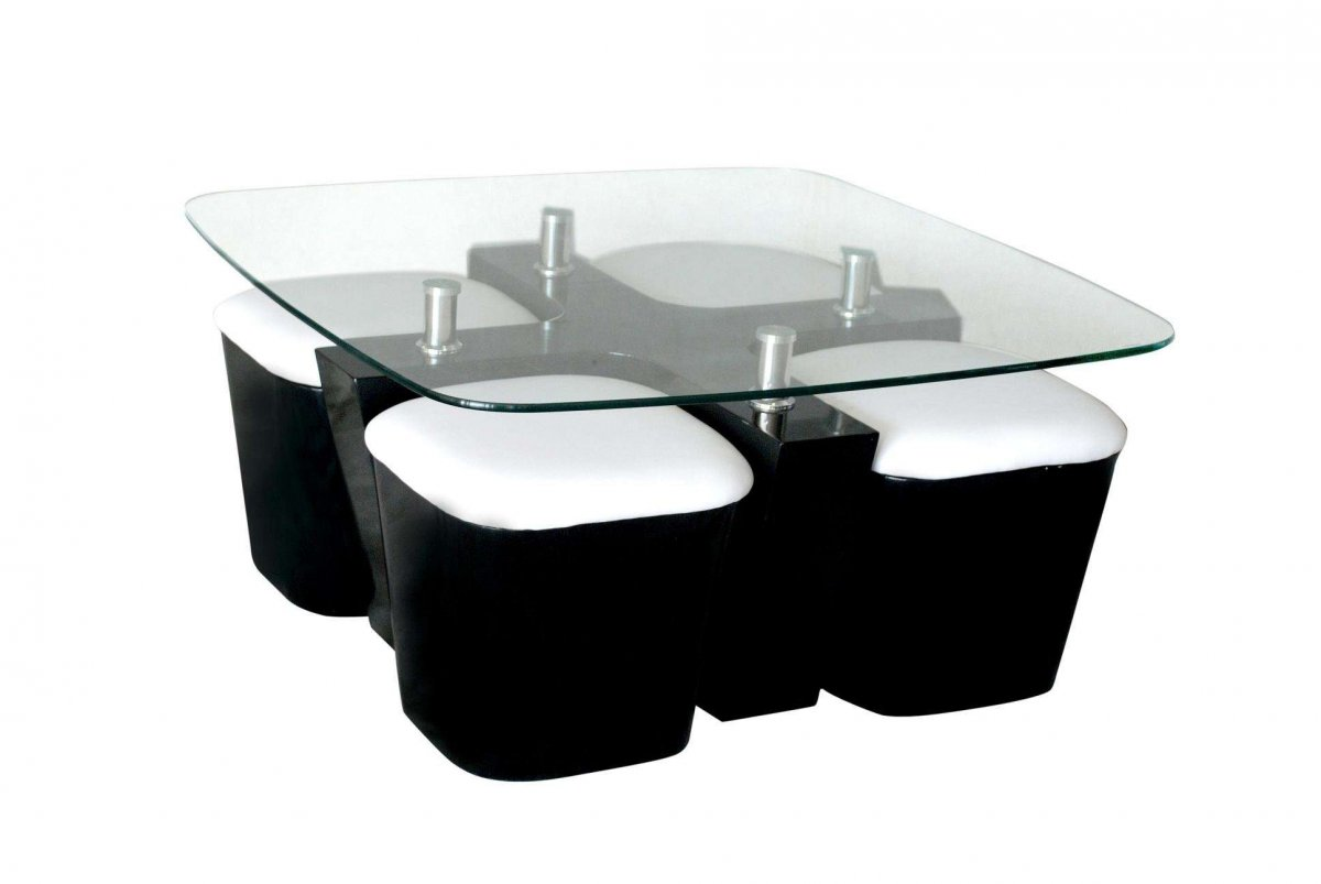 glass top coffee table with 4 black and white chairs design