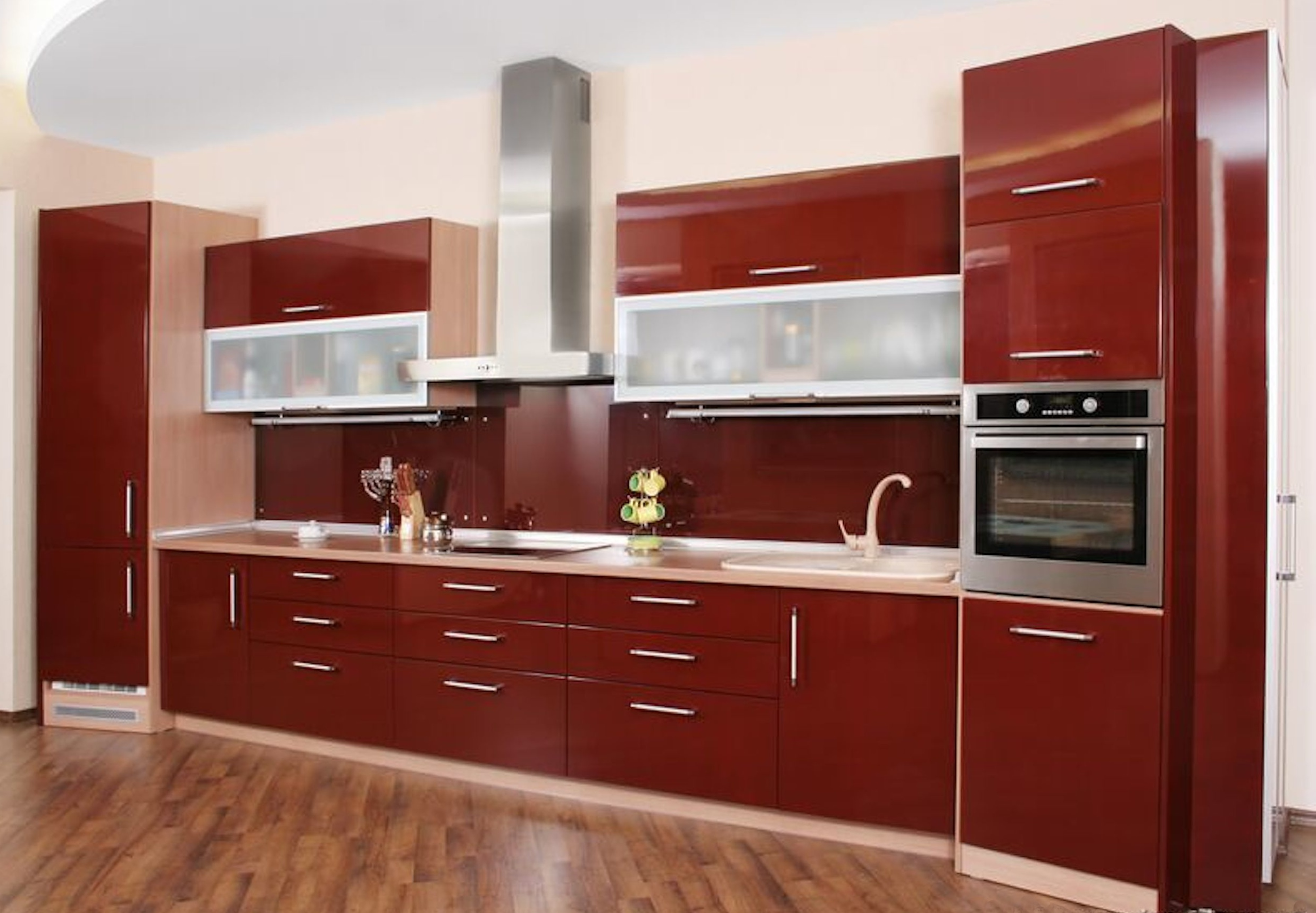 High Gloss Cherry Ideas For Kitchen Cabinet Doors To Enhance The Beauty Space To Your Kitchen