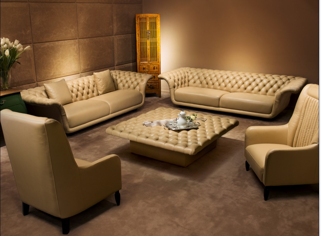Luxurious Brown Leather Sofa And Chair