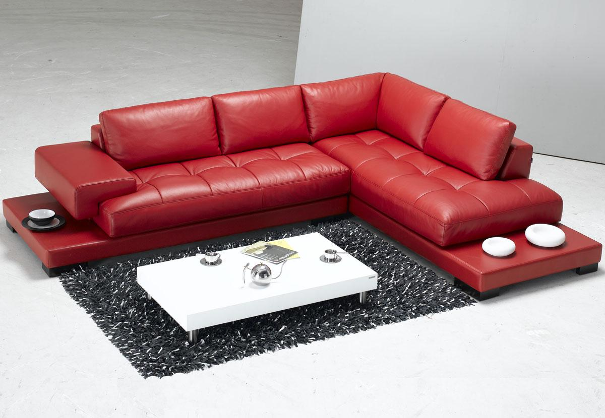 Luxury and Contemporary Red Leather Sectional Sofa
