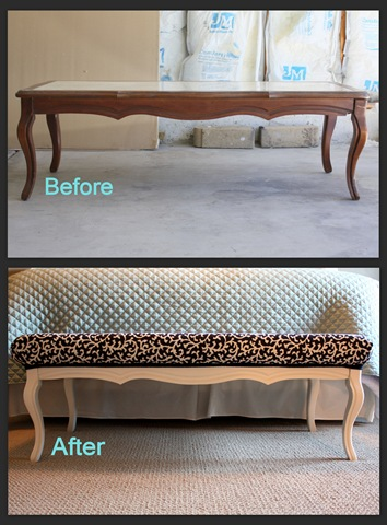 Coffee table diy project before and after